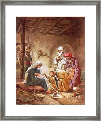 Three Kings Worship Christ Framed Print by William Brassey Hole