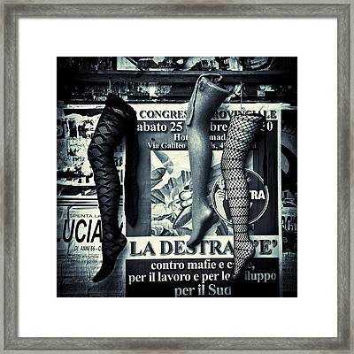 Three Mannequin Legs Framed Print by Dave Bowman