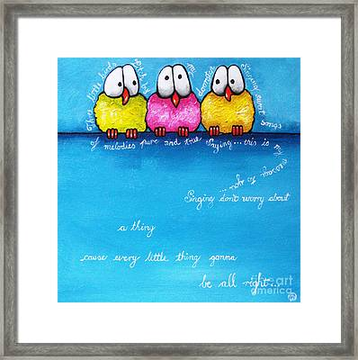 Three Little Birds Framed Print by Lucia Stewart