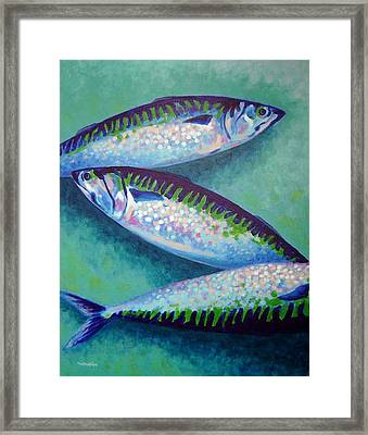 Three Mackerel Framed Print by John  Nolan