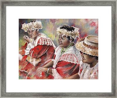 Three Mamas From Tahiti Framed Print by Miki De Goodaboom