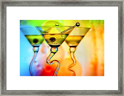 Three Martinis With Colorful Background Framed Print by Judy Kennamer