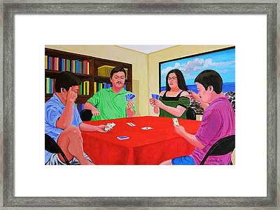 Three Men And A Lady Playing Cards Framed Print by Cyril Maza