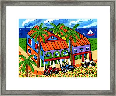Three Motorcycles At Cedar Key Framed Print by Mike Segal