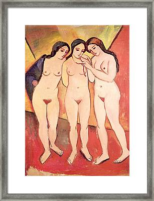 Three Naked Girls Framed Print by August Macke