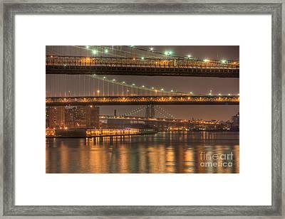 Three New York Bridges Framed Print by Clarence Holmes