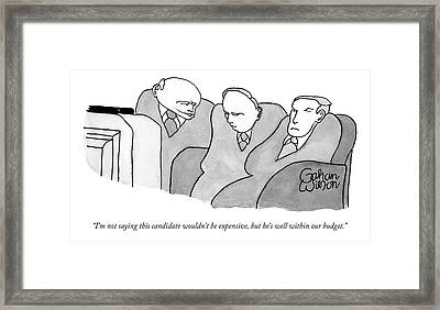 Three Old Guys In Suits Are Watching A Tv Framed Print by Gahan Wilson