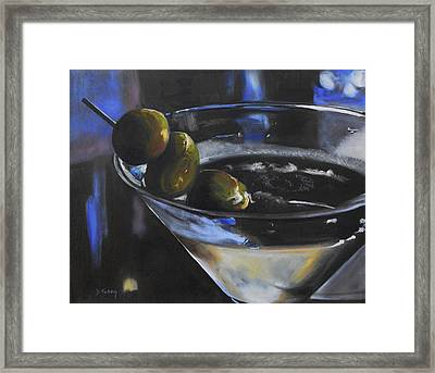 Three Olive Martini Framed Print by Donna Tuten