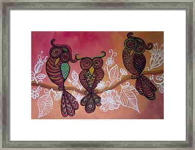 Three Owls Framed Print by Cherie Sexsmith