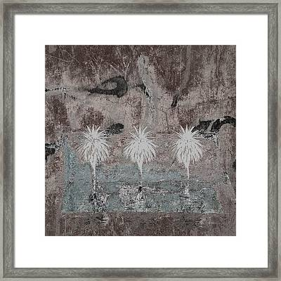 Three Palms Oasis Framed Print by Carol Leigh