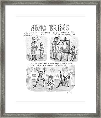 Three Panel Cartoon About What Boho Parents Framed Print by Roz Chast