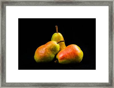 Three Pears Framed Print by Jon Woodhams