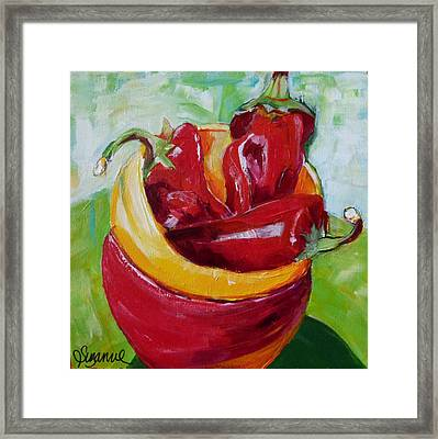 Three Peppers Framed Print by Suzanne Willis