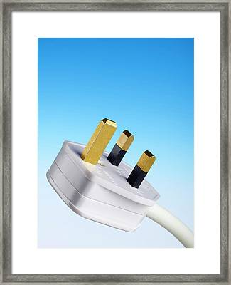 Three-pin Electrical Plug Framed Print by Science Photo Library