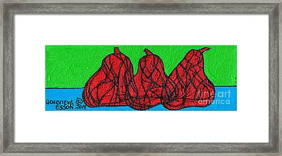 Three Red Pears Framed Print by Genevieve Esson