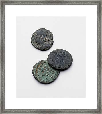 Three Roman Coins Framed Print by Dorling Kindersley/uig