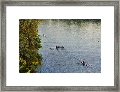 Three Rowers Along The Schuylkill Framed Print by Bill Cannon