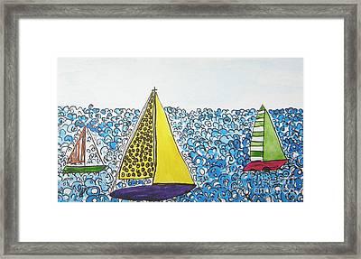 Three Sails Framed Print by Marcia Weller-Wenbert