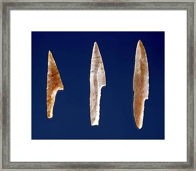 Three Serrated Points, From Volgu, Solutrean Period, 20000-15000 Bc Flint Framed Print by Prehistoric