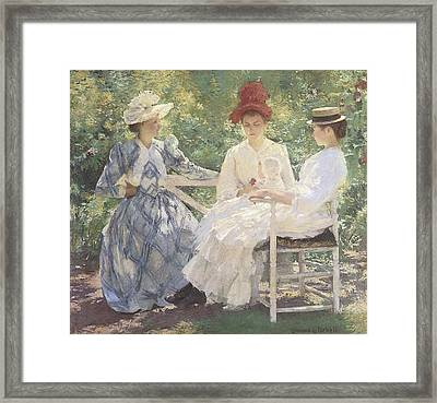 Three Sisters-a Study In June Sunlight Framed Print by Edmund Charles Tarbell