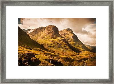 Three Sisters. Glencoe. Scotland Framed Print by Jenny Rainbow