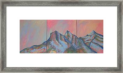 Three Sisters Mountians Alberta Framed Print by Cherie Sexsmith