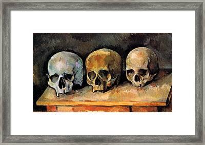 Three Skulls Framed Print by Paul Cezanne