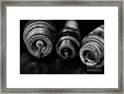 Three Spark Plugs Black And White Framed Print by Wilma  Birdwell