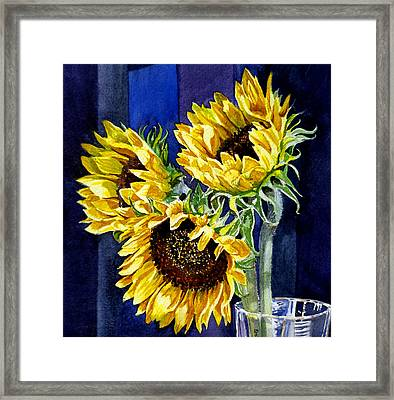 Three Sunny Flowers Framed Print by Irina Sztukowski