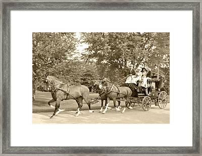 Three Team Four Wheel Cart Framed Print by Wayne Sheeler