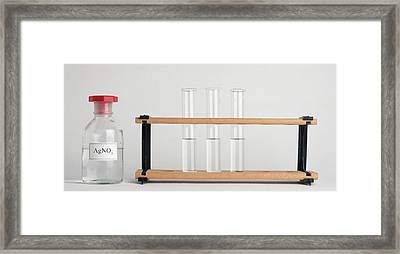 Three Test Tubes On Rack And Agno3 Framed Print by Dorling Kindersley/uig