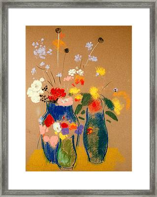 Three Vases Of Flowers Framed Print by Odilon Redon