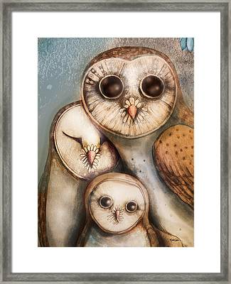 Three Wise Owls Framed Print by Karin Taylor