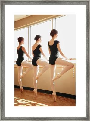 Three Women Practicing Dance Framed Print by Don Hammond