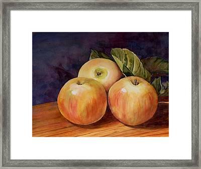 Three Yellow Apples Still Life Framed Print by Blenda Studio
