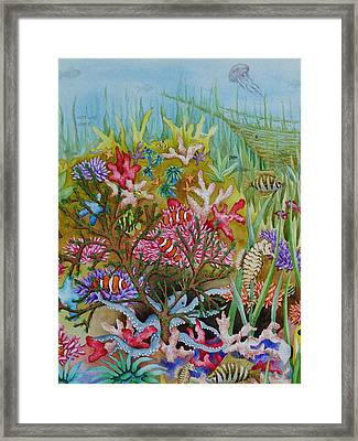 Thriving Ocean -sunken Ship Framed Print by Katherine Young-Beck