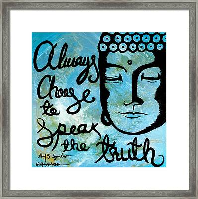 Throat Chakra Vishuddha Blue Framed Print by Holly Anderson and Pato Aguilar