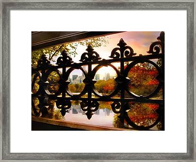 Through Bank Rock Bridge Framed Print by Jessica Jenney