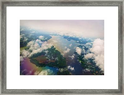 Through The Clouds. Rainbow Earth Framed Print by Jenny Rainbow