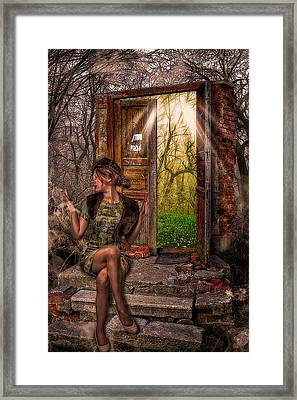 Through The Forest Door Framed Print by Erik Brede