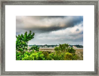 Coastal - Marsh - Landscape - Through The Marsh Framed Print by Barry Jones