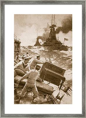 Throwing Overboard All Inflammable Luxuries When A Battleship Is Cleared For Action Framed Print by English School