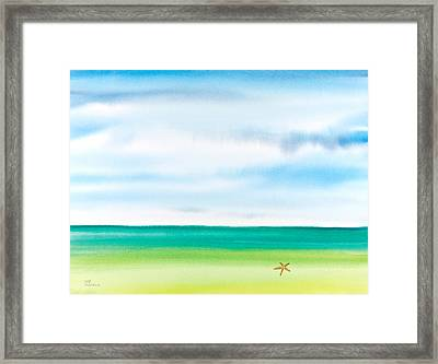 Throwing Starfish Into The Sea Watercolor Painting Framed Print by Michelle Wiarda