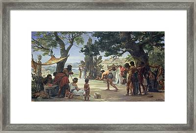 Throwing The Discus, 1875 Oil On Canvas Framed Print by Edouard-Joseph Dantan