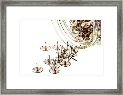 Thumbtack Spillage Framed Print by Carol Leigh