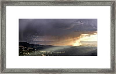 Thunder Shower And Lightning Over Teton Valley Framed Print by Leland D Howard
