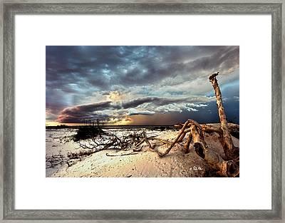 Thunder Storm Clouds Desert Landscape Sand Dune Art Prints Framed Print by Eszra Tanner