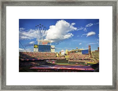 Thunderbird Flyover At Target Field For All Star Game Framed Print by Mountain Dreams