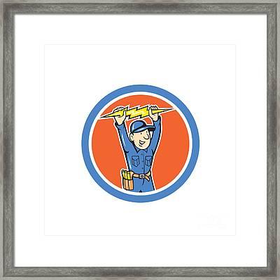 Thunderbolt Toolman Electrician Lightning Bolt Cartoon Framed Print by Aloysius Patrimonio