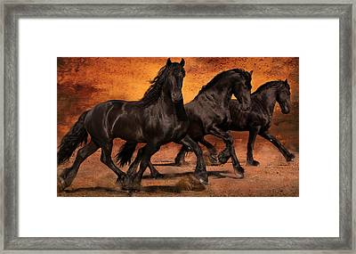 Thundering Hooves Framed Print by Jean Hildebrant